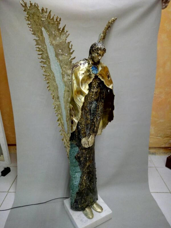 handcrafted bronze artwork angel