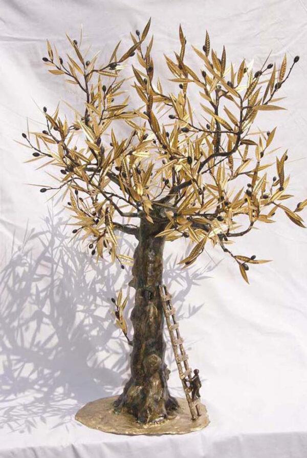 handcrafted bronze artwork olive tree handmade