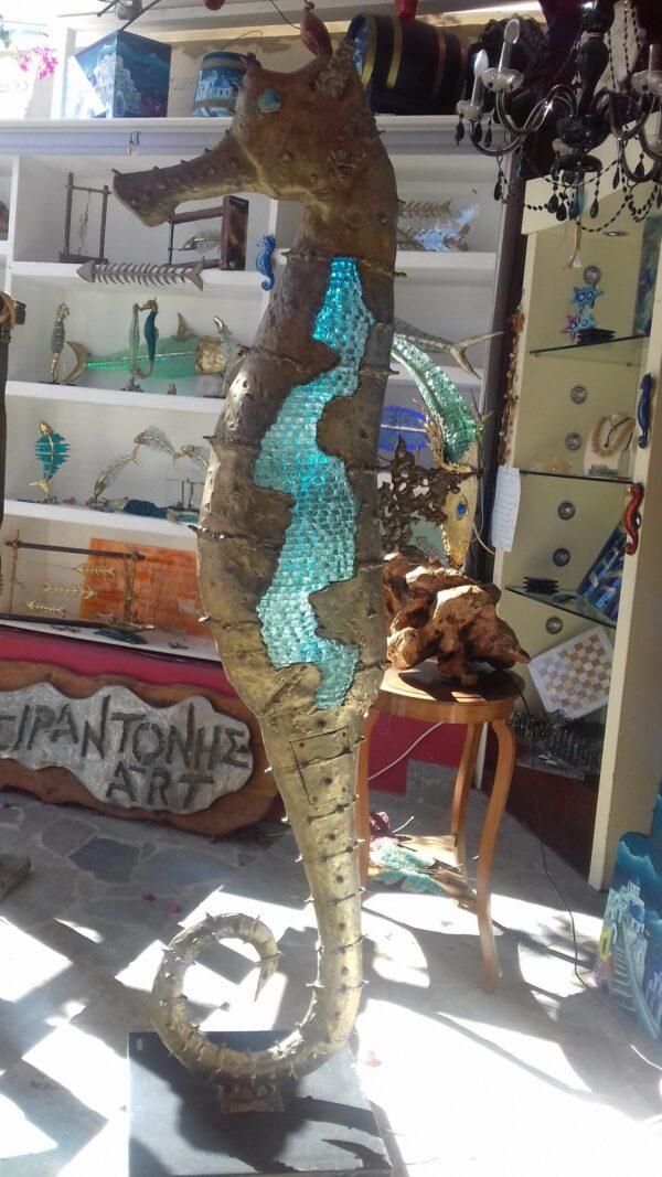 handcrafted bronze artwork seahorse sculpture handmade light led