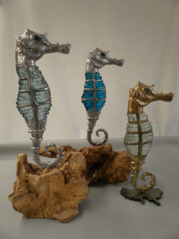 handcrafted bronze artwork seahorse sculpture handmade light led