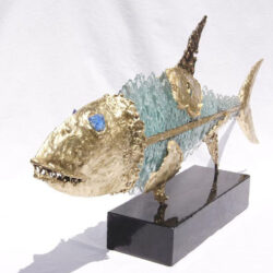 handcrafted bronze artwork fish sculpture handmade led light