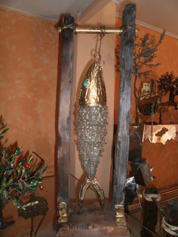 handcrafted bronze artwork fish sculpture handmade led light