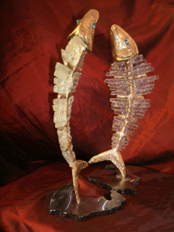 handcrafted bronze artwork fish sculpture handmade